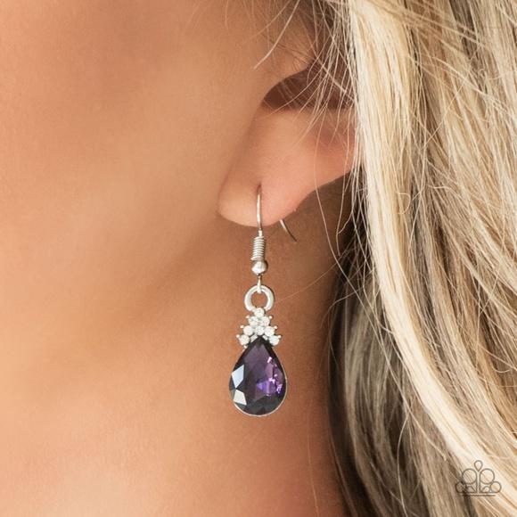 paparazzi Jewelry - 5th Avenue Fireworks - Purple Earrings
